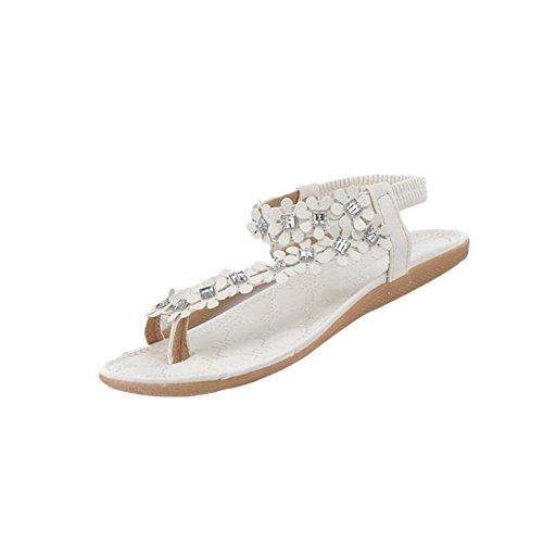 Fortan Damen Sommer-Böhmen-Blumen-Kristall Flip-Flop-Schuhe Flache Sandalen (EU=39, Weiss) -