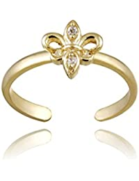18k Gold over Sterling Silver CZ Fleur-de-Lis Toe Ring