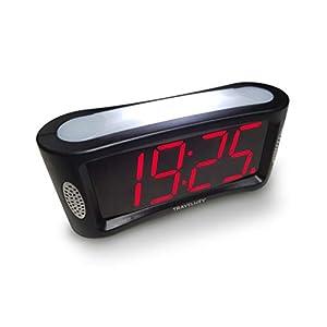 Digitaler Wecker - netzbetrieben; Einfach zu bedienenender Wecker mit großem Nachtlicht; nicht tickend; Schlummer-Modus; Helligkeitsdimmer; gut lesbares Display mit roten Ziffern; 24-Stunden Format