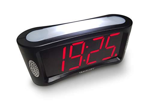 Travelwey Wecker LED-Digitalwecker - netzbetrieben, Großes Nachtlicht, Alarm, Snooze, große rote Ziffernanzeige, Nicht tickend, USA für die letzten 3 Jahre, Schwarz, 24-Stunden-Format -