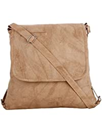 CFI Beige Synthetic Leather Sling Bag For Women / Girls