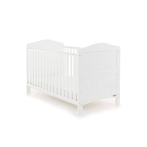Obaby Whitby Cot Bed and Dual Core Breathable Mattress - White Obaby The Whitby features a subtle curved top with slat effect end panels Adjustable 3 position mattress height, bed ends split to transforms into toddler bed Protective teething rails along both side rails, suitable from birth to approximately 4 years 3