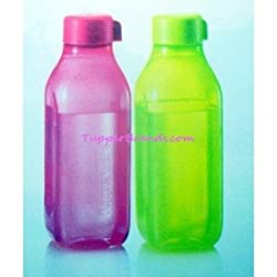 TUPPERWARE 500 ML SQUARE BOTTLE PINK AND GREEN (SET OF 2)