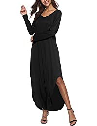 Vestito Taglie Forti Donna Incinte Lunghi Eleganti Estivi Vestiti da Giorno  Spacco V Scollo Manica Corta c217b2c4330