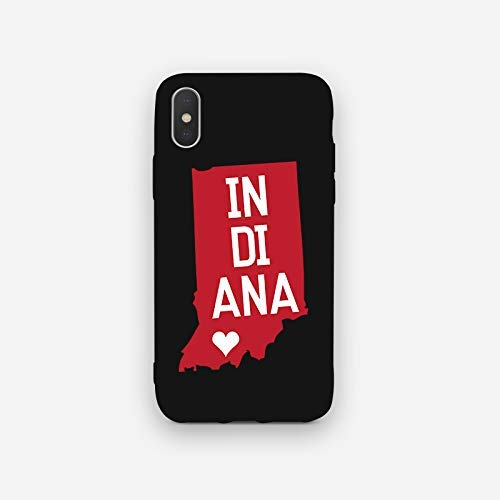 Vishtea State Map Case iPhone X XS Case/iPhone X XS State Case for iPhone X XS Thin [Slim Slim Fit] State Lovers iPhone Case [Wireless Charging] für Apple iPhone X XS, IphoneX/XS, Indiana - Indiana-girl