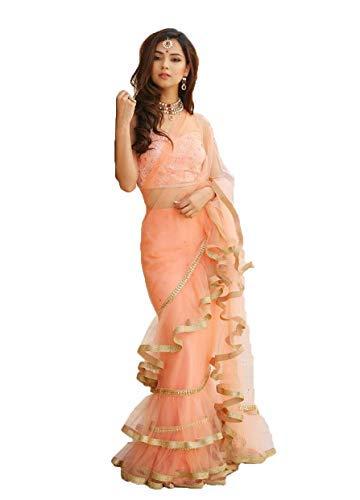 Natural Creation Women Net Raffle Saree With Blouse Pics (Gotis-7109_Peach_Free Size)