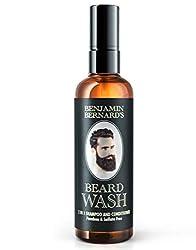 Bartshampoo - 2-in-1 Shampoo & Spülung von Benjamin Bernard - Bartpflege hergestellt mit 100 % natürlichen Ölen - frischer Duft - parabenfrei + sulfatfrei - 100 ml