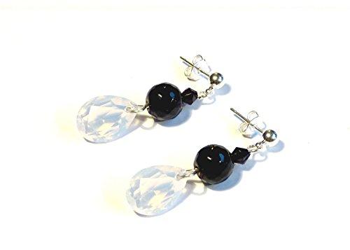 """♥ SANDSTEIN ♥ - wunderschöne Ohrringe, Ohrstecker Farbe: schwarz, weiß, silber - Material: versilbert, Acrylglas, Glas - Original \""""vom Chiemsee\"""" ©"""
