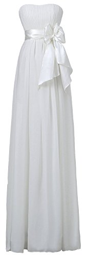 Fanciest Damen Schulterfrei Chiffon Brautjungfernkleides Lang Wedding Party Dress Ivory