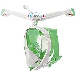 TZTED Masque De Plongée Rotation À 360 ° Tube Respiratoire Panoramique Complet Masque De Plongée Plein Visage Respiration 180 Degrés De Plongée Anti-Buée Anti Fuite Technology pour Adulte,C,S/M