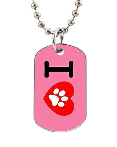 émail Dog Tag avec I Love Unique Imprimé sur mesure utile d'images (Un côté) ovale Dog Tag