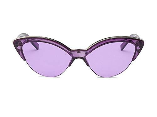 WSKPE Sonnenbrille,Fashion Cat Eye Sonnenbrille Frauen Die Hälfte Rahmen Transparent Farbe Sonnenbrille Uv400 Lila Rahmen Lila Objektiv