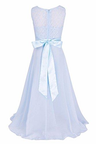 KekeHouse® Robe De Fête En Dentelle Robe De Bal En Mousseline Sans Manche Longue Robe De Femme A-ligne Bleu clair