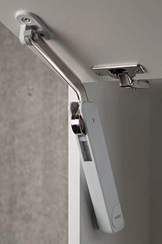 Gedotec Klappenbeschlag Klappenhalter Hochklappbeschlag FREE FLAP H 1.15 für einteilige Klappen aus Holz, Glas oder mit Aluminiumrahmen | Modell D: 2,2-10,9 kg Klappengewicht | 1 Garnitur