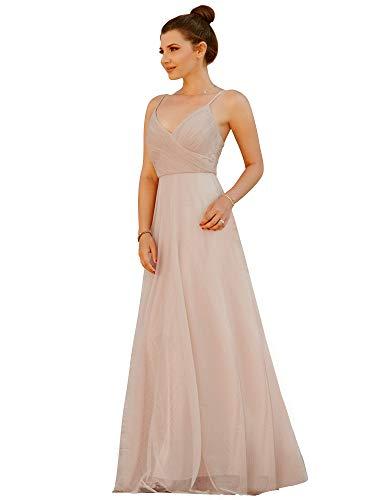 Ever-pretty vestito da damigella d'onore per matrimonio lungo scollo a v cinghie regolabili blush 42