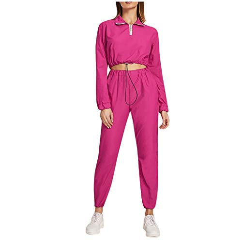 Trainingsanzüge Damen Poloshirt Crop Tops Sporthose Sportswear-Sets Langarm Sweatshirt Kordelzug Hose mit Tasche Sportanzug Casual Sports Bekleidungsset, Pink, Medium