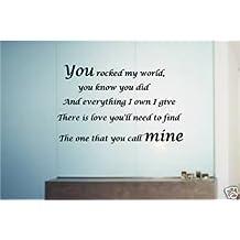 Online diseño de Michael Jackson letras Rock My World cuadro decorativo de vinilo