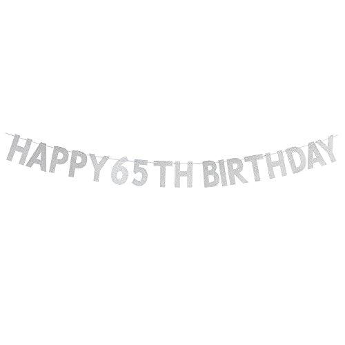 WeBenison Happy 65th Birthday Banner-Cheers to 65Jahren Birthday Anniversary Party Supplies, Ideen und Dekorationen-Silber (Party-ideen Birthday 65th)