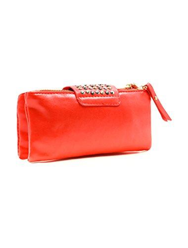 Allegra K Damen Bolzen Dekoration Magnetisch Klappe Schließung Imitation Leder Kupplung Rot - Rot