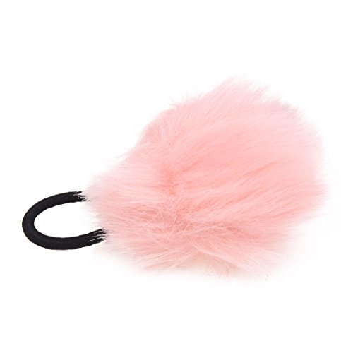 TOOGOO(R) Corde de cheveux elastique noir avec le pompon rose pour la queue de cheval