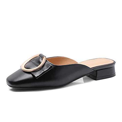MENGLTX High Heels Sandalen Mode Frauen Maultiere Slingbacks Pumps Echtes Leder Party Prom Schuhe Frau Concise Sommer Komfort Hausschuhe Neue Schuhe 8 Schwarz -