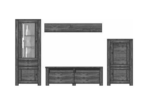 4-tlg. Anbauwand in Akazie dunkel Nachbildung inklusive LED-Beleuchtung, Gesamtmaß der Anbauwand: B/H/T ca. 320/203/40 cm - 2
