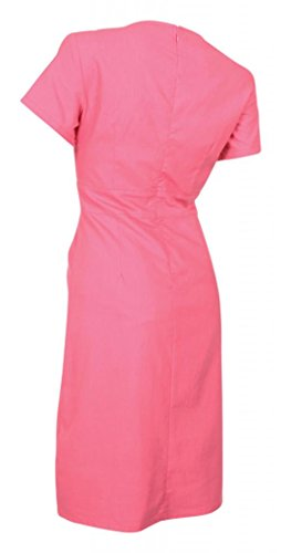 My Evening Dress Robe Habillée en Coton et Lin Manches Courtes Col en V Rose Vif