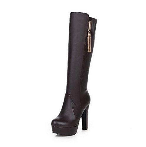 AgooLar Damen Blend-Materialien Rund Zehe Rein Hoch-Spitze Hoher Absatz Stiefel, Dunkelbraun, 35