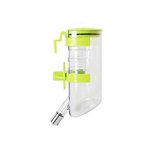 Zubita Wasserflasche für Haustier, 500ml, Hängend Trinkflasche Kunststoff Trinknapf Outdoor Trinkbecher für Hunde, Katzen, Häschen, Hamster, Eichhörnchen (Grün)