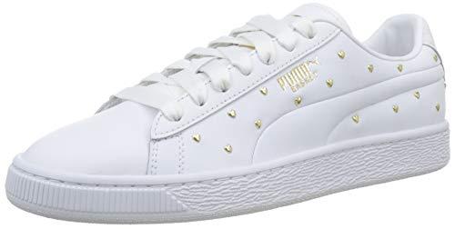 Puma Damen Basket Studs WN's Sneaker, Weiß White Team Gold, 38.5 EU Frauen Weiße Leder