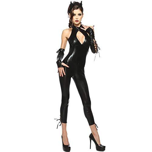 WWAVE Halloween Kostüm Cosplay Patent Katze Teufel Kleid Performance Kleid Siamesische Leder Katze Strumpfhosen