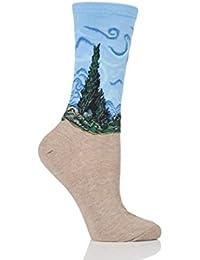 Damen 1 Paar HotSox Artist Collection Kornfeld und Zypressen Socken aus Baumwolle