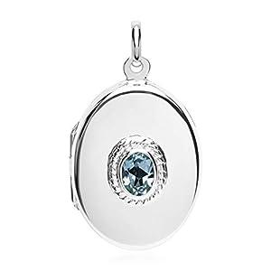 Hochwertiges Unique Medaillon aus 925er Silber mit blauem Topas SP0512