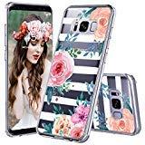 MOSNOVO Galaxy S8 Hülle, Streifen Blumen Muster TPU Bumper mit Hart Plastik Hülle Durchsichtig Schutzhülle Transparent für Samsung Galaxy S8 (Stripes Floral)