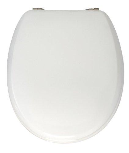 Wenko 230009100 WC-Sitz Sonate - verstellbare, rostfreie Edelstahlbefestigung, Spülkasten geeignet, antibakteriell, Kunststoff - Duroplast, 37 x 42 cm, weiß