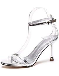 SFSYDDY-Transparente Zapatos De Tacon Alto Sandalias De Tacón Fino De 9 Cm  Moda Verano Sexy Una Palabra De Hebilla Pequeño… d8694ec9495e