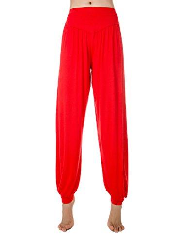 Baymate - Sarouels Pantalon Yoga Bouffant Modal pour Femme -Bloomer Elastique Extensible - Harem Pants Danse Pilates Sport Rouge