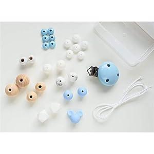 DIY Schnullerketten Set mit Silikon- und Naturholzperlen in Hellblau und Weiß