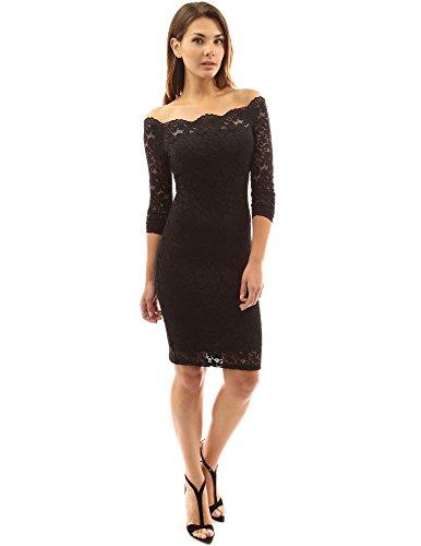 PattyBoutik Damen Schulterfreies Etuikleid mit geblumter Spitze (schwarz 40/M) - Stretch-spitze-lange Kleid