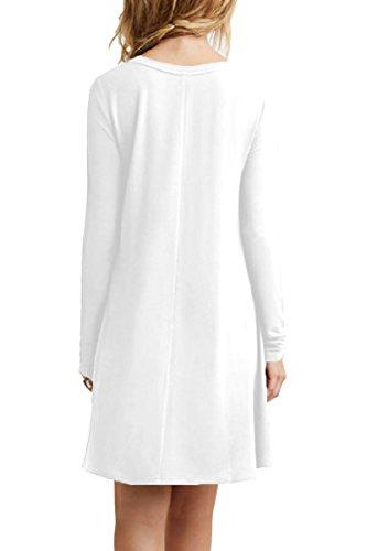 YMING Damen Langarm Kleid Lose T-Shirt Kleid Rundhals Casual Tunika Mini  Kleid 14 Farben 4f7c68a8a6