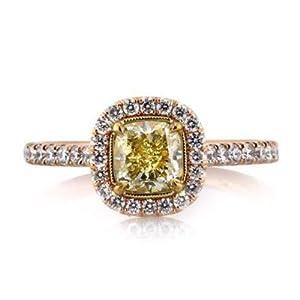 Damen-Ring Verlobungsring 14 Karat (750) Rotgold Solitär Rose Diamant Ringschliff Größe P Q L M N H J