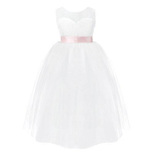 iEFiEL Festliches Mädchen Kleid Lange Brautjungfern Kleider Hochzeit Party Festzug Kleidung 92 104 116 128 140 152 Weiß 116 (Kostüm 4 U Überprüfen)