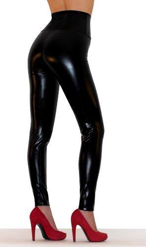 Sodacoda Damen Sexy Kunst-Leder Leggings - Hohe Taille Wet-Look (Lack-Schwarz, S)