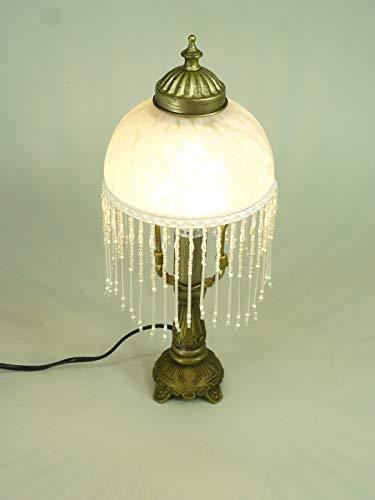 LED-Tischleuchte Weide Landhaus-Stil messing-antik Glasschirm, inklusive LED Leuchtmittel E14-2Watt Lampe