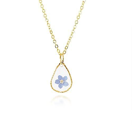 Lily - Fleurs de Myosotis Collier   Vraies Fleurs en Résine   Bijoux d'amitié   Cadeau unique pour elle   02VW