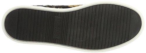 Stokton, Zapatilla De Cuello Alto Negra Para Mujer (negro / Dorado)