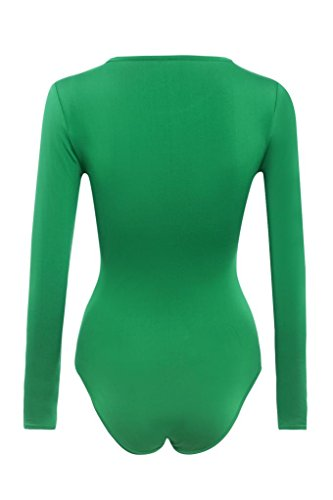 Jumpsuit Femme Kolylong 2016 Automne Hiver Shirt femme manches longues Jumpsuit Bodysuit stretch Leotard Haut de Blouse T-shirt Vert