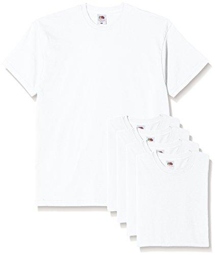 Fruit of the loom original t, t-shirt uomo, bianco (white 30), x-large(pacco da 5)