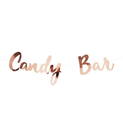 Oblique Unique® Candybar Girlande Banner 1,5m in Roségold für JGA Junggesellinnenabschied Hochzeit Geburtstag Party Feier Deko