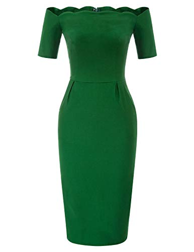 Belle Poque Business Kleid 50er Pencil Kleid Bandeau Off Shoulder Partykleid Strandkleid BP892-2 (Kostüm Für Zwei Frauen)